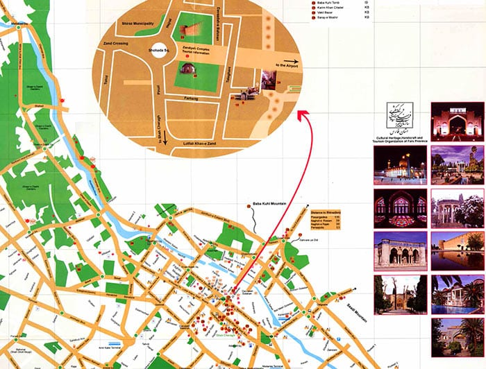 Shiraz Tourist Map
