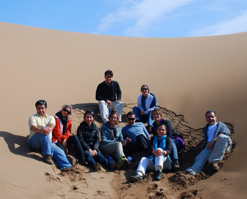 Tourists in the Maranjab desert, Kashan