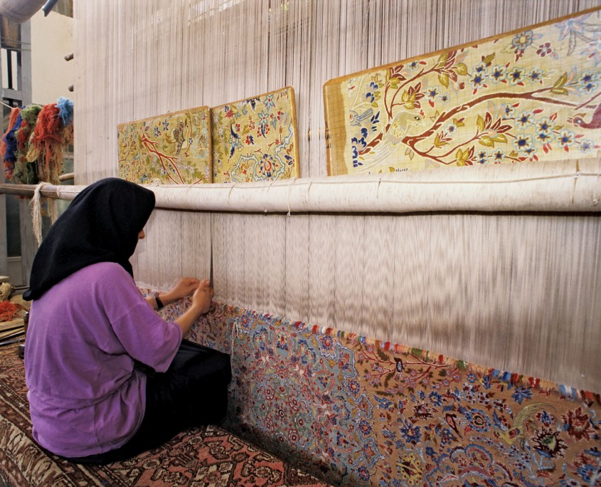 Carpet weaving still plays a major part in the economy of modern Iran.