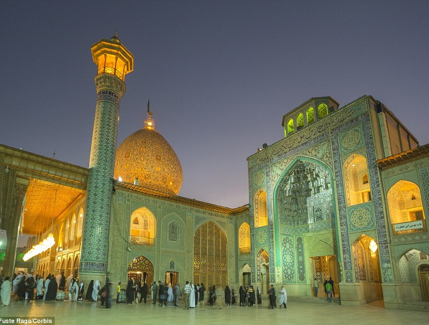 Beacon The glittering Mausoleum of Shah-e-Cheragh in the city of Shiraz stands out against the evening sky