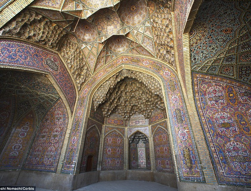 Intricate detail The Nasir al Mulk Mosque is known as the Pink Mosque because of its rose-coloured tiles