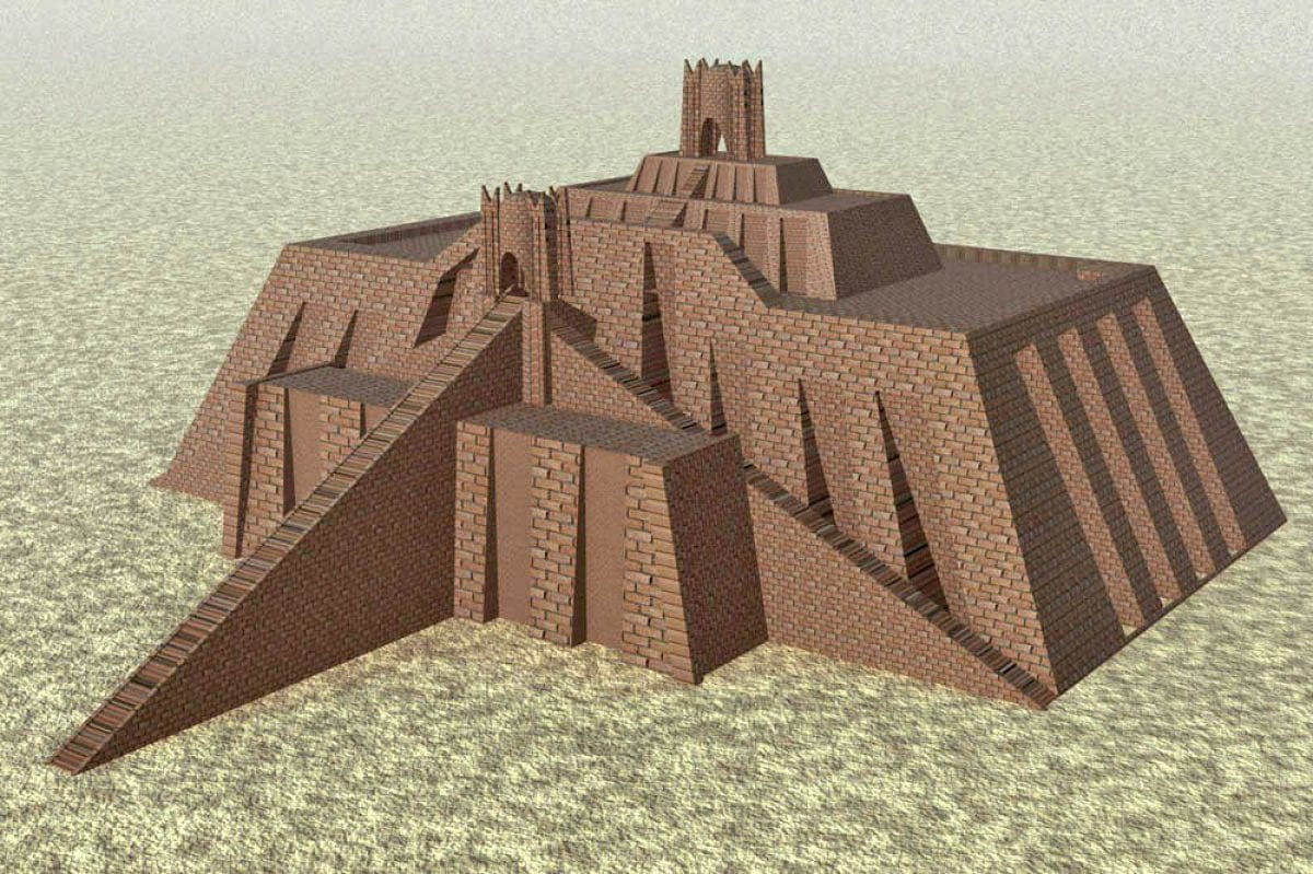 Reconstruction of Ur-Nammu's ziggurat, based on the 1939 reconstruction by Woolley