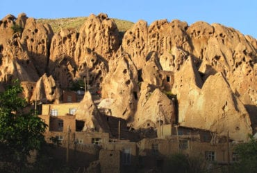 Kandovan is historic village with houses carved in the rocks in Azerbaijan region of Iran.