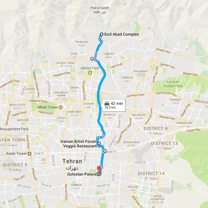 Map of Tehran One Day Tour