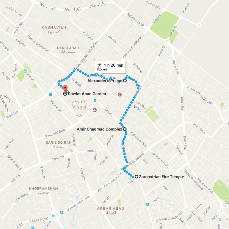 Yazd Day Tour - Map
