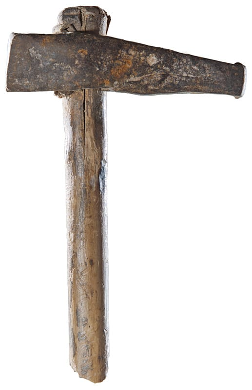 Iron pick with wooden handle, length c. 210mm, Archaeological Museum Zanjan (photograph: Deutsches Bergbau-Museum).