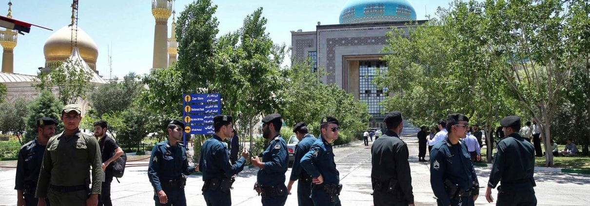Security personnel outside the mausoleum of Ayatollah Ruhollah Khomeini after the attacks on Wednesday.