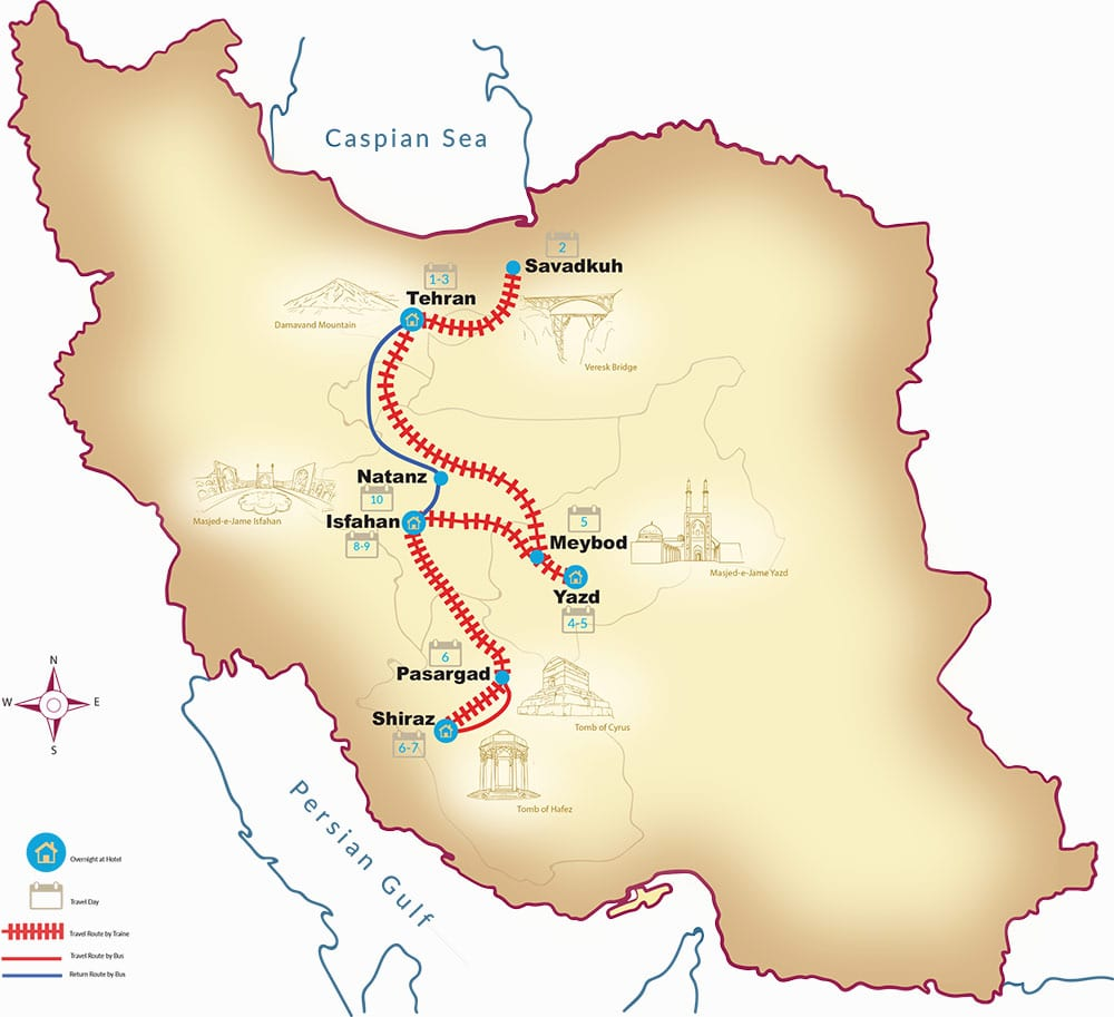 Iran train Tour - Map