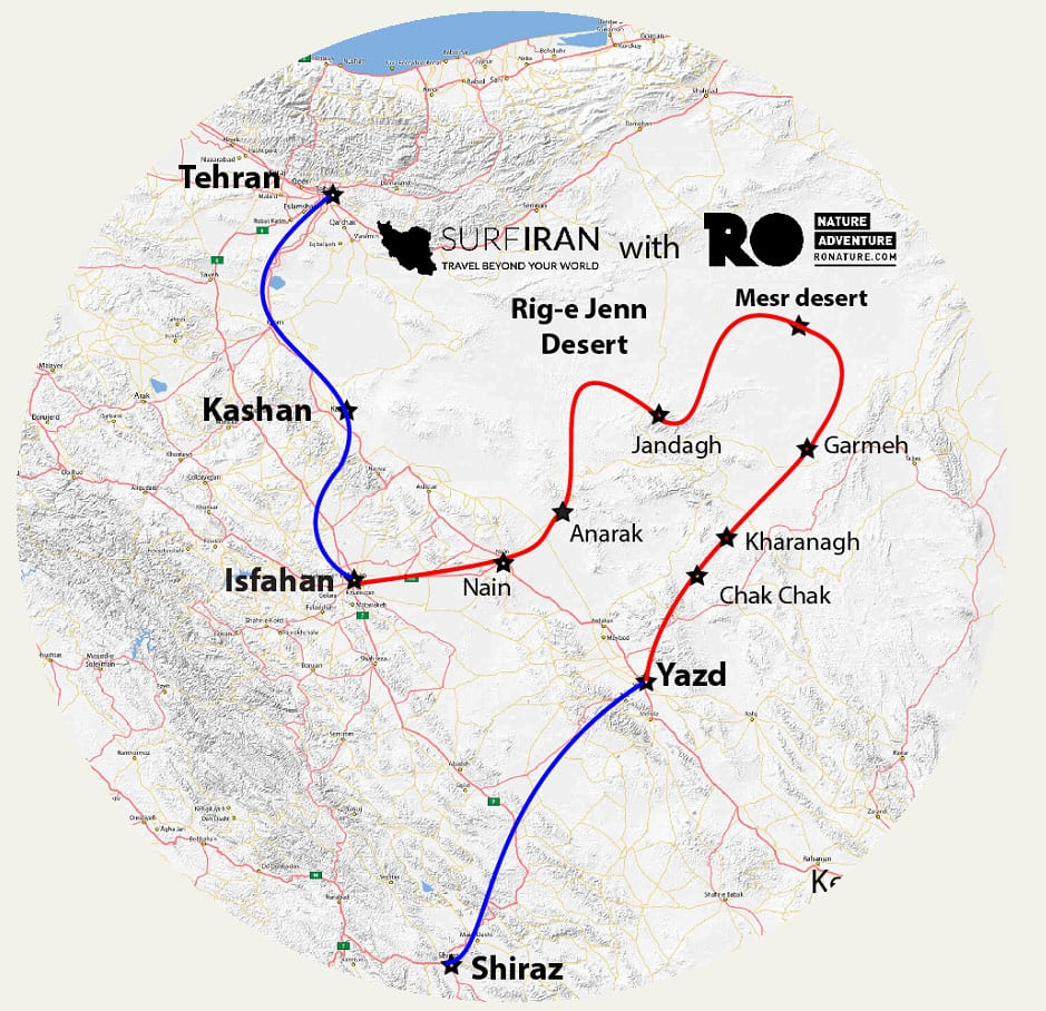 Iran tour – From Deep Deserts To Historical Cities - Map
