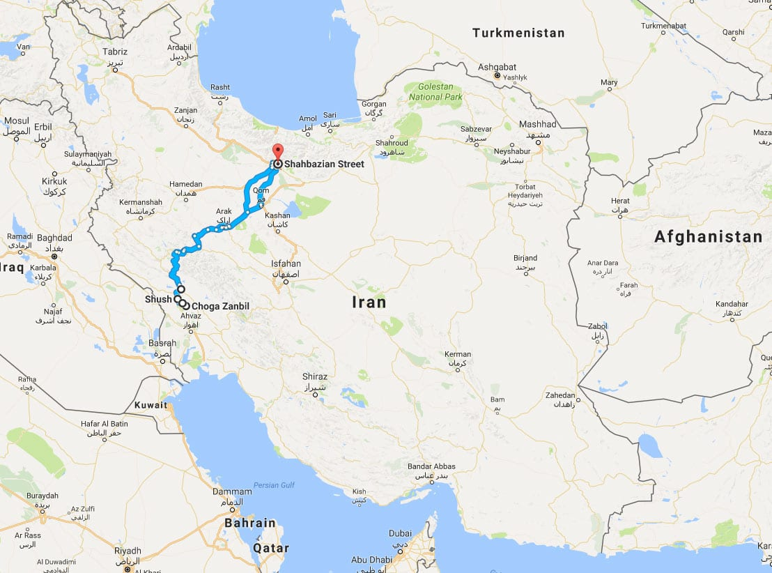 Map of Khuzestan Train Tour – Nature, History, and Industry